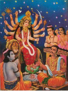 Lord Rama Worshipping Devi Durga